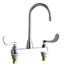 Chicago Faucets - 1100-GN2AE3-317VPACP - 8-inch Center Deck Mounted Sink Faucet