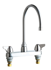 Chicago Faucets - 1100-GN8AE3VPCABCP - 8-inch Center Deck Mounted Sink Faucet