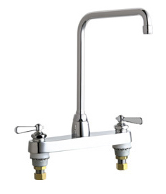 Chicago Faucets - 1100-HA8-241ABCP - 8-inch Center Deck Mounted Sink Faucet with Traditional Lever Handles