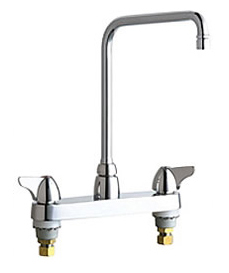 Chicago Faucets - 1100-HA8VPAABCP - 8-inch Center Deck Mounted Sink Faucet
