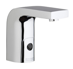 Chicago Faucets 116.750.AB.1 - HyTronic Edge Lavatory Sink Faucet with Dual Beam Infrared Sensor. Edge Electronic Integral Spout. Vandal Proof Non-Aerating Laminar Flow Stream Solidifier. Stainless Steel Hoses Included.