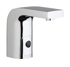 Chicago Faucets 116.758.AB.1 -  HyTronic Edge Lavatory Sink Faucet with Dual Beam Infrared Sensor. Edge Electronic Integral Spout. 0.5 GPM (1.9 L/min) Vandal Proof Non-Aerating Spray. Stainless Steel Hoses Included.