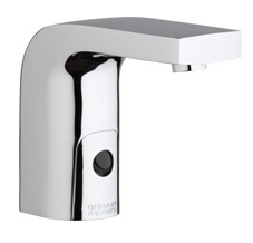 Chicago Faucets 116.760.AB.1 -  HyTronic Edge Lavatory Sink Faucet with Dual Beam Infrared Sensor. Edge Electronic Integral Spout. Vandal Proof Non-Aerating Laminar Flow Stream Solidifier. Stainless Steel Hoses Included.