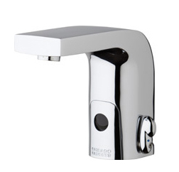 Chicago Faucets 116.770.AB.1 -  HyTronic Edge Lavatory Sink Faucet with Dual Beam Infrared Sensor. Edge Electronic Integral Spout. Vandal Proof Non-Aerating Laminar Flow Stream Solidifier. Stainless Steel Hoses Included.