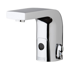 Chicago Faucets 116.778.AB.1 -  HyTronic Edge Lavatory Sink Faucet with Dual Beam Infrared Sensor. Edge Electronic Integral Spout. 0.5 GPM (1.9 L/min) Vandal Proof Non-Aerating Spray. Stainless Steel Hoses Included.
