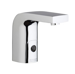 Chicago Faucets 116.850.AB.1 -  HyTronic Edge Lavatory Sink Faucet with Dual Beam Infrared Sensor. Edge Electronic Integral Spout. Vandal Proof Non-Aerating Laminar Flow Stream Solidifier. Stainless Steel Hoses Included.