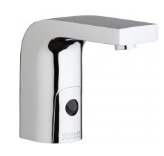 Chicago Faucets 116.858.AB.1 -  HyTronic Edge Lavatory Sink Faucet with Dual Beam Infrared Sensor. Edge Electronic Integral Spout. 0.5 GPM (1.9 L/min) Vandal Proof Non-Aerating Spray. Stainless Steel Hoses Included.