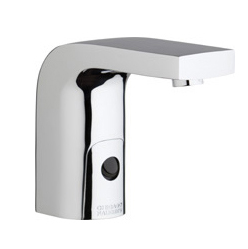 Chicago Faucets 116.860.AB.1 -  HyTronic Edge Lavatory Sink Faucet with Dual Beam Infrared Sensor. Edge Electronic Integral Spout. Vandal Proof Non-Aerating Laminar Flow Stream Solidifier. Stainless Steel Hoses Included.