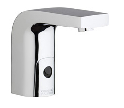 Chicago Faucets 116.868.AB.1 -  HyTronic Edge Lavatory Sink Faucet with Dual Beam Infrared Sensor. Edge Electronic Integral Spout. 0.5 GPM (1.9 L/min) Vandal Proof Non-Aerating Spray. Stainless Steel Hoses Included.