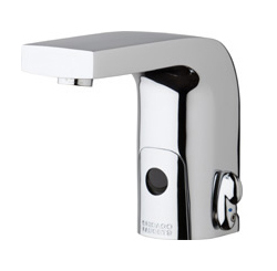 Chicago Faucets 116.870.AB.1 -  HyTronic Edge Lavatory Sink Faucet with Dual Beam Infrared Sensor. Edge Electronic Integral Spout. Vandal Proof Non-Aerating Laminar Flow Stream Solidifier. Stainless Steel Hoses Included.