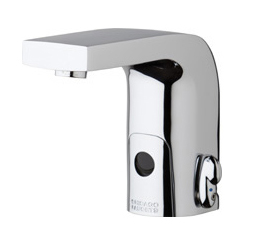 Chicago Faucets 116.878.AB.1 -  HyTronic Edge Lavatory Sink Faucet with Dual Beam Infrared Sensor. Edge Electronic Integral Spout. 0.5 GPM (1.9 L/min) Vandal Proof Non-Aerating Spray. Stainless Steel Hoses Included.