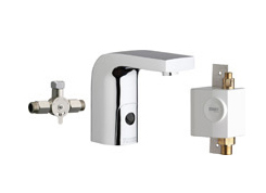 Chicago Faucets 116.960.AB.1 -  HyTronic Edge Lavatory Sink Faucet with Dual Beam Infrared Sensor. Edge Electronic Integral Spout. Vandal Proof Non-Aerating Laminar Flow Stream Solidifier. Stainless Steel Hoses Included.