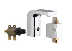 Chicago Faucets 116.978.AB.1 -  HyTronic Edge Lavatory Sink Faucet with Dual Beam Infrared Sensor. Edge Electronic Integral Spout. 1.0 GPM (3.8 L/min) Vandal Proof Non-Aerating Laminar Outlet. Stainless Steel Hoses Included.