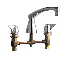 Chicago Faucets - 1201-AL8CP - 8-inch Deck Mounted Kitchen Sink Faucet