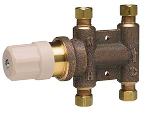 Chicago Faucets 121-NF Thermostatic Mixing Valve with Standard 3/8 inch compression inlet and outlet connections