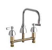 Chicago Faucets 201-ADB6AE3ABCP - 8-inch Center Counter Mounted Kitchen Sink Faucet without Spray
