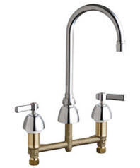 Chicago Faucets 201-RSGN2AE3VPABCP - 8-inch Center Concealed Kitchen Sink Faucet, Less Side Spray