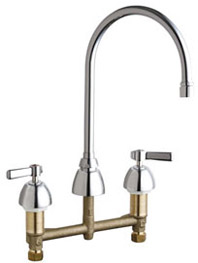 Chicago Faucets 201-RSGN8AE35VPAB - 8-inch Center Concealed Kitchen Sink Faucet, Less Side Spray