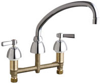 Chicago Faucets 201-RSL9E35VPXKCP - 8-inch Center Concealed Kitchen Sink Faucet, Less Side Spray