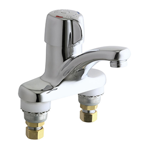 The Chicago Faucets 3300-CP MeterMix™ faucet provides the water savings of a metering faucet combined with the convenience of temperature adjustment. MeterMix has MVP™ Metering Cartridge with proven performance 5-year warranty.