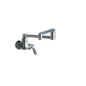 Chicago Faucets 332-DJ13ABCP Single Inlet Wall Mounted Faucet with 13 inch Double Jointed Adjustable Swing Spout