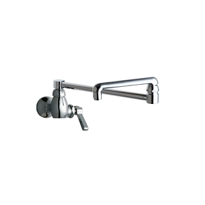 Chicago Faucets - 332-DJ18ABCP Single Inlet Wall Mounted Faucet with 18 inch Double Jointed Adjustable Swing Spout