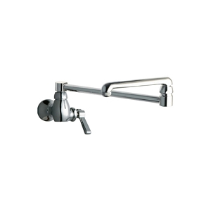 Chicago Faucets 332-DJ18E1ABCP Single Inlet Wall Mounted Faucet with 18 inch Double Jointed Adjustable Swing Spout