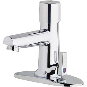 Chicago Faucets 3502-4E2805ABCP - 4-inch Center Hot and Cold Water Metering Mixing Sink Faucet