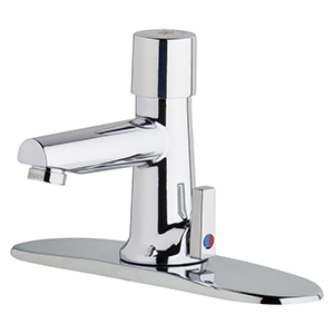 Chicago Faucets 3502-8E2805ABCP - 8-inch Center Hot and Cold Water Metering Mixing Sink Faucet