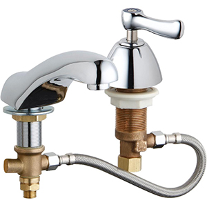 Chicago Faucets 404-HZCWABCP - Adjustable Concealed Deck Mount Lavatory Metering Cold Water Only Sink Faucet