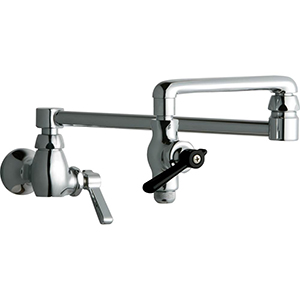 Chicago Faucets - 515-CP - Wall Mounted Pot Filler Faucet with 18-inch double jointed swing spout