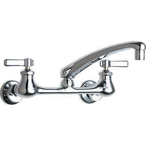Chicago Faucets - 540-LDL8ABCP - 8-inch Center Adjustable Wall Mounted Faucet with Heavy Duty 8-inch Cast Brass Swing Spout