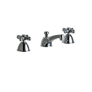 Chicago Faucet - 736-D643CPR, Widepsread bathroom sink faucet with metal cross handles