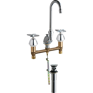 Chicago Faucets 794-CP - Widespread Lavatory Sink Faucet with Gooseneck Spout and Pop-up Waste