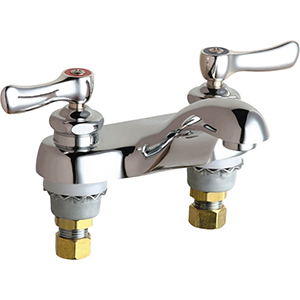 Chicago Faucets - 802-244ABCP 4 inch Center Lavatory Faucet with Integral Spout, E12 - 2.2 GPM Pressure Compensating Softflo® Aerator. The faucet also includes 390 - Indexed Curved Lever Handles with Klo-Self - Self Closing Cartridge