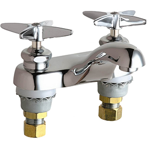 Chicago Faucets - 802-633ABCP 4 inch Center Lavatory Faucet with Integral Spout, E12 - 2.2 GPM Pressure Compensating Softflo® Aerator. The faucet also includes 633 - Indexed Cross Handle, Quaturn™ Operating Cartridges