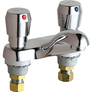 Chicago Faucets - 802-665CP - 4-inch Center Metering Lavatory Faucet