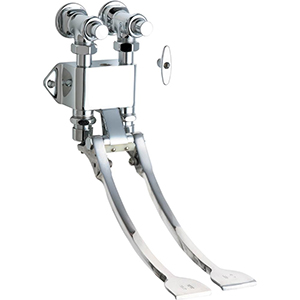 Chicago Faucets 834-EPABCP - Hot and Cold Water Pedal Box with Extended Pedals for Remote Spouts and Valves
