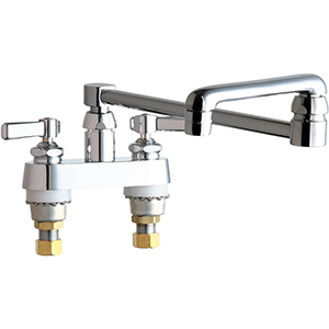 Chicago Faucets 891-DJ13ABCP - 4 icnh Center Deck Mounted Faucet with 13 inch Double Jointed Swing Spout for Extended Reach