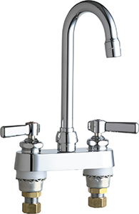 Chicago Faucets 895-E2805-5ABCP 4 inch Center Deck Mounted Sink Faucet with Rigid/Swing Gooseneck Spout, 2.2 GPM Pressure Compensating Softflo® Aerator, Indexed Lever Handles and Quaturn™ Cartridges