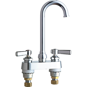 Chicago Faucets 895-GN1FCABCP 4 inch Center Deck Mounted Sink Faucet with Rigid/Swing Plain End Gooseneck Spout, 1.6 GPM Laminar Flow Control Device in Spout, Indexed Lever Handles and Quaturn™ Cartridges