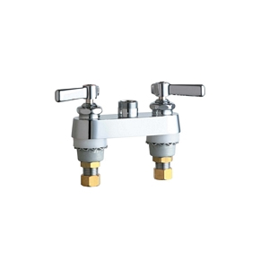 Chicago Faucets 895-LESXKAB 4 inch Center Deck Mounted Sink Faucet with Less Spout, Indexed Lever Handles and Ceramic Disc Cartridges