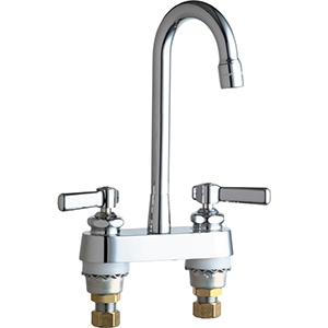 Chicago Faucets 895-RGD1ABCP 4 inch Center Deck Mounted Sink Faucet with Rigid Gooseneck Spout, 2.2 GPM Pressure Compensating Softflo® Aerator, Indexed Lever Handles and Quaturn™ Cartridges